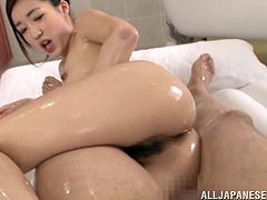Adorable Japanese girl Chika Kitano is having fun with her BF in a bathroom. Chika gets her pussy fingered and then they bang in missionary position and doggy style.