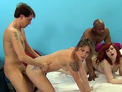 Scott Lyons, Porno Dan, Prince Yahshua, Holly Starr, Saddie Kennedy and Emma Snow go wild in an amazing orgy over a bed. They're sex addicts!