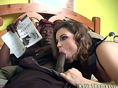 A beautiful babe in black lingerie plays with her pussy and sucks a big black cock. Then this Katie Thomas gets her sweet pussy licked and fucked hard.