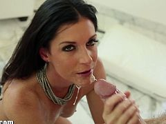 The lovely babe with tiny tits and nice ass has her lips and hands driving that dick to pleasure. Watch this sluty milf gagging and blowing this big dick like a pro.