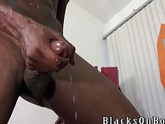 Horny dark-haired gay is playing dirty games with two black dudes. He pleases the guys with a deepthroat blowjob and then gets banged in missionary position and doggy style.