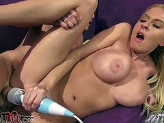 Bosomy blond bombshell Riley Evans gets her pussy pounded hard in sideways pose