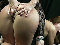 Mature Alice King with huge knockers and Katy Parker have a lot of fun in this lesbian action
