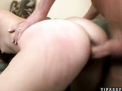 Redhead Dani Jensen finds her mouth filled with guys throbbing love wand