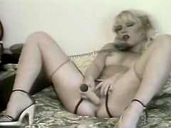Light haired torrid lassie with small breasts posed missionary style in bed and applied big fuck stick to satisfy her thirsting kitty. Look at this dirty bitch in The Classic Porn sex clip!
