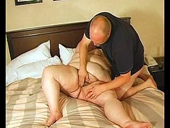 Obese brunette slut gives a blowjob to some guy and lets him eat her cunt. Then they bang in cowgirl and missionary positions and she moans loudly with pleasure.