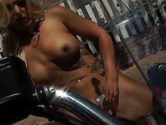 Bella Rose's outdoor pussy toying. She sent us in a tape of her sitting wide on her motorcycle and fingering her little snatch. If you like big tits and blondes.