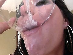 Nasty and dirty fucker Gia DiMarco is not just simply enjoying a big dick in her mouth, she enjoys also swallowing a lot of cum and spitting it into a bowl and eating all of it later.
