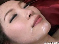 A stunning Japanese girl takes off her short dress. A guy licks her armpits and vagina. Then Miki gets fucked in different poses and gets her pretty face cum covered.