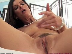 Incredibly seductive porn actress India Summer plays with her shaved pussy showing the action in closeup shot. She then performs stout blowjob while getting filmed from POV.