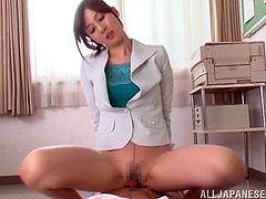 Make sure you have a look at this hardcore scene where this beautiful Asian babe gets her boss aroused before riding his hard cock.