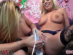 Heather Starlet knows how to share and now it her friend's turn to ride this dude's cock. Bubble butt blonde Britney Amber rides this dude's stiff cock for a long time switching up positions to get maximum satisfaction!