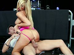 Torrid porn star Tasha Reign bends over the table. Xander Corvus puts her thongs aside sliding hard dick in her sleek pussy from behind. He pounds her bad in standing position. Later in the porn video Tasha Reign rides solid prick in a cowgirl position.