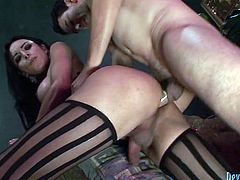 Dirty shemale slut is getting her ass eaten out and her cock sucked properly. Then she bends over the couch taking hard stick deep up her butt hole from behind.