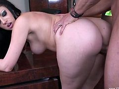 Make sure you take a look at this hardcore scene where the slutty brunette Ava Rose sucks on this guy's big cock before being fucked silly.