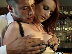 If you love wild cougars then watch this sexy redhead cougar Audrey Lords in this hot video.She strips off her clothes and gets her lusty pussy fucked hard in the bar.This lucky dude fucks her tight pussy hard and fast till me shoots his cum in her mouth and all over her face.