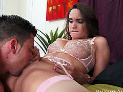 Palatable babe Teal Conrad gets her soaking wet pussy eaten out by Seth Gamble. She then gets on top of solid prick bouncing intensively. Super hot and sexy porn scene is presented by Naughty America.