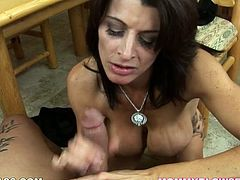 Smoking hot brunette milfie with lusty eyes Raquel Amato is all naked works on 8 inches of manly meat with her mouth. Her blowjob skills are fucking awesome!