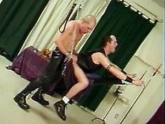 Check these homosexuals, with sexy bodies wearing leather clothes, while they go hardcore together in different positions. They're crazy guys!