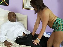 Plum brunette with small tits demonstrates deepthroat skills in this exciting interracial Fame Digital sex tube video. Enjoy watching eager blowjob for free.