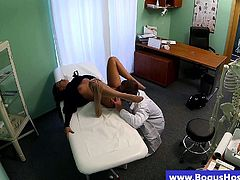 Petite hottie gets her pussy eating by her doctor