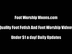 Check out these horny lesbian vixens having fun with each other's sexy feet. They switch turns to lick their feet and suck on their petite toes! Foot worship vixens.