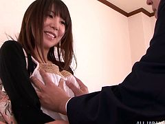 An adorable Japanese babe with juicy boobs takes off her clothes. She lies down on a bed and gets her delicious pussy licked. Of course then Kaede takes hard pussy pounding.