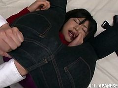 Kinky Japanese chick is playing dirty games with some guy in a bedroom. The dude plays with the bitch's shaved snatch and then drills it in missionary position.