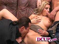 Check out this hardcore scene where the horny blonde Jennifer N. ends up splattered by semen after being fucked by two guys in a threesome.