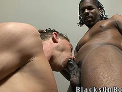 SO, this is a wild gay porn video. It's an interracial one and today this black dude is going to fuck that white faggot's asshole.