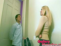 Pigtailed blonde teen is having fun with her BF indoors. The girl's stepmother catches them and decides to share her experience with the young couple.