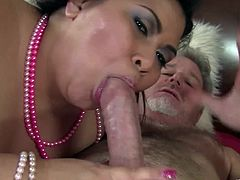 Watch the horny BBW Asian Tyung Lee devouring this guy's big cock with an amazing blowjob before being fucked by this guy's thick cock.