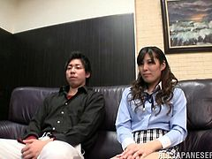 Mao Hamasaki gives a handjob to some dude in an office