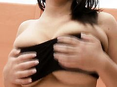Lailda with giant melons and trimmed snatch gives pleasure to herself with the help of vibrator