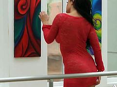 Aria Giovanni is so gorgeous again, wearing this super sexy red dress. She takes it off and then spreads legs to rub her tight pussy!