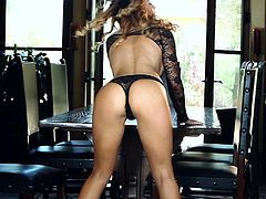 Amazing brown-haired chick Heather Vandeven wearing lace bodyshirt is having fun indoors. She fondles her amazing body and then entertains herself by fingering her coochie.