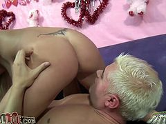 This cock crazed blondie just loves to fuck. She rides her lover's pecker reverse cowgirl style. Then they give pleasure to each other in 69 position.