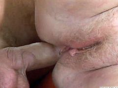 Old BBW gets her fat pussy fucked missionary style from behind. Then she gets her hairy muff fucked hard in cowgirl position. Go for a steamy grannie sex tube video produced by Fame Digital porn site.