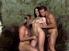Make sure you get a load of this hardcore scene where the slutty brunette Roxy Panther ends up with a mouthful of cum after a hot threesome.