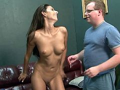 Check out this hardcore scene where the slutty Nikki Daniels is fucked by this guy as this other dude watches as he only gets to lick her feet.