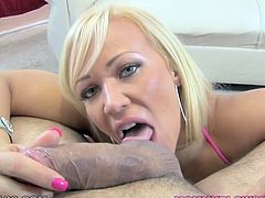 Curvaceous blonde model is pretty skilled in performing deepthroat blowjob. Take a look on perfect blowjob scene presented by My XXX Pass.