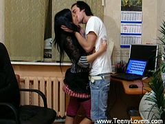 Horny dude distracts his GF from studies to have passionate oral sex. The girl kneels down giving stout blowjob. Then, she gets fucked in sideways position.