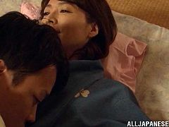 A Japanese couple fuckin' banging in a Japanese traditional house right here in this amazing hardcore sex scene right here!