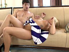 A gorgeous fuckin' blonde bitch in a cheerleader uniform takes a hard cock up in her stupid ass gash, check it out right here!