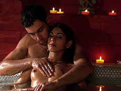 Will Steiger caresses Sahara Knite sensually while bathing in a spa together