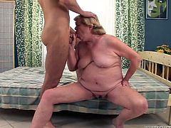 Mind blowing old sex pot with big droopy tits provided her young fuck boy with amazing BJ. Later she got rewarded by passionate sideways style fuck. Have a look at this kinky old slut in Fame Digital porn video!
