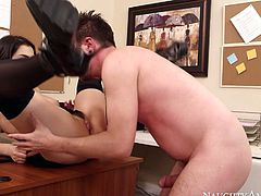 Spicy office sex scene featuring brunette bombshell Valentina Nappi. She bends over the desk getting fucked bad doggy style. After steamy doggy style she gets her soaking wet pussy eaten out.