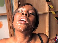 Ms. Platinum is a slutty chocolate babe. She sucks and strokes white dicks standing on her knees. All these dudes cum on her face and in a mouth.