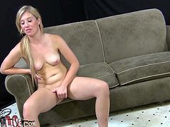 Sexy blonde girl Jessica Heart gets her pussy toy fucked and finger fucked in provocative porn vid