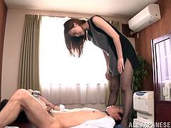 Japanese porn fantasies are back again and here is Chizuru Sakura, who is going to be enjoying her time, jumping on her boss's cock!